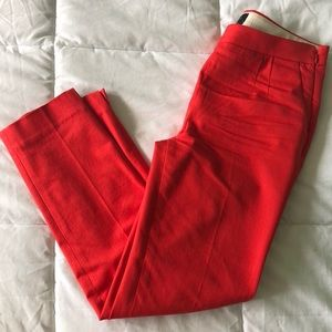 J Crew Ankle Pants- Size 0, Coral/Red-Orange